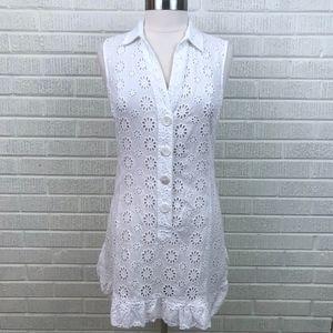 Nanette Lepore Swim Cover-Up Eyelet Dress White M